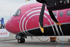 Avions de Transport Régional ATR 42-600 (A380spotter) Tags: prattwhitneycanada pw127m turboprop engine powerplant propeller undercarriage landinggear nosegear avionsdetransportrégional atr42 600 fwwlc n405sv ship405 zoë flipflopsoptional silverairways sil 3m staticdisplay fia18 farnboroughinternationalairshow2018 taglondonfarnboroughairport eglf fab
