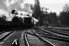 GCR 70795bw (kgvuk) Tags: gcr greatcentralrailway swithland swithlandsidings railway train steamtrain locomotive steamlocomotive steamengine 48624 8f 280 rothley