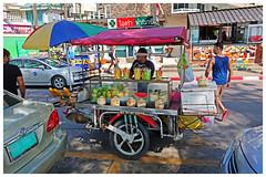 Homemade Curbside Fruit Stand - Phuket, Thailand (TravelsWithDan) Tags: fruitstand homemade candid man outdoors city urban phuket thailand canong3x ngc