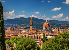 Tuscan Postcard (IRRphotography) Tags: florence firenze overlook italy italia duomo roof rooftops travel green hills clouds