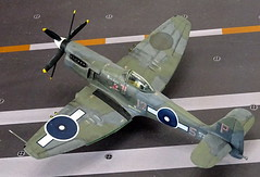 "1:72 Hawker P.1019 ""Sea Fury"" Mk. XII, aircraft ""125-P (s/n JZ670)"" of the Fleet Air Arm 1832 NAS; HMS Pioneer, Admiralty Islands, July 1945 (Whif/modified Airfix kit) (dizzyfugu) Tags: 172 hawker p1019 sea fury griffon engine la610 whif whatif fictional aviation aircraft conversion red roo resin modellbau dizzyfugu faa fleet air arm new guines wwii 1945 hms pioneer carrier fighter bomber"