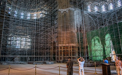 2018 - Serbia - Belgrade - Saint Sava Temple (Ted's photos - For Me & You) Tags: 2018 belgrade cropped nikon nikond750 nikonfx serbia tedmcgrath tedsphotos vignetting saintsavatemple saintsavatemplebelgrade belgradeserbia serbianorthodoxchurch serbianorthodoxchurchbelgrade churchinterior scaffolding photographer bollards church