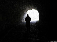 There is a light at the end of the tunnel (mm18965) Tags: dmcg6 lumix14140mm lumixgvario14140mmf3556 panasonic badenwürttemberg deu deutschland geo:lat=4776412689 geo:lon=881670535 geotagged hohentwiel singen silhouette schattenriss tunnel licht light blackandwhite natural