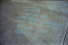 "Sidewalk sanity plea ""Feel zero like myself"" (ADMurr) Tags: la sidewalk homeless mental health leica m4 2016 50mm summicron blue chalk kodak"