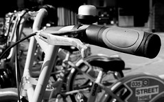 CityBikes in Nottingham (Andy Sut) Tags: nottingham brakelever cycling citycentre bfw blackandwhite citybike monochrome bell handle publictransport bicycles bikes