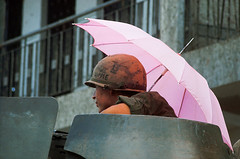 SAIGON Tet Offensive 1968 - US Soldier With Umbrella (manhhai) Tags: 1 adults americanarmedforces armedforces asia asianhistoricalevent historicevent hochiminhcity males military militaryoperation militarypersonnel northamericanhistoricalevent people saigon soldier southvietnam southeastasia southeastregion tetoffensive1968 umbrella unitedstateshistoricalevent unitedstatesofamerica vietnam vietnamwar19591975 vietnamesehistoricalevent