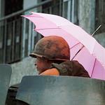 SAIGON Tet Offensive 1968 - US Soldier With Umbrella thumbnail