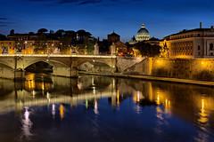 Roma (Frank Shufelt) Tags: roma rome italy italia bluehour stpetersbasilica 20180421 0452 april2018 tiber 04440448 pontesantangelo