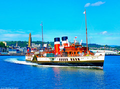 Scotland Greenock the paddle steamer Waverley setting off on a ten and half hour cruise to Holy Island 26 July 2018 by Anne MacKay (Anne MacKay images of interest & wonder) Tags: scotland greenock sea town victoria tower clyde paddle steamer waverley xs1 26 july 2018 picture by anne mackay