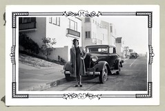 "1933 Plymouth Coupe (Vintage Cars & People) Tags: vintage us usa america vintageusa classic black white ""blackwhite"" sw photo foto photography automobile car cars motor vehicle antique auto lady woman girl plymouth 1934plymouth coupe 1933plymouth 1930s thirties fashion coat hat gloves dress silkstockings stockings handbag"