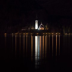 0803 Church On The Lake VI (Hrvoje Simich - gaZZda) Tags: dark night outdoors landscape water lake pond reflections lights travel bled slovenia europe church building