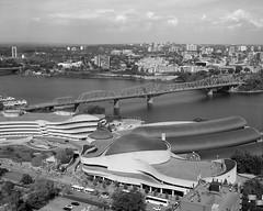 Canadian Museum of History (Howard Sandler (film photos)) Tags: gatineau canadianmuseumofhistory architecture aerial bridge ottawa river film blackandwhite mediumformat zeiss superikonta tessar acros