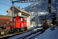 BLS Tm2/2 57, Re4/4 176 Brig, January 11, 2000 (swissuki) Tags: bls brig railroads re44 switzerland tm