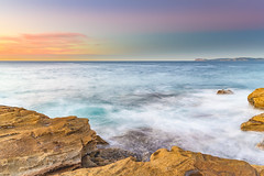 Sunrise on the Coast (Merrillie) Tags: daybreak sunrise puttybeach nature australia water centralcoast newsouthwales rocks earlymorning nsw morning sea ocean outdoors bouddinationalpark landscape coastal rocky sky seascape waterscape coast dawn waves