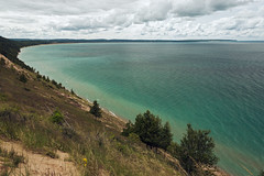 Platte Bay on a Cloudy Day (matthewkaz) Tags: plattebay bay lakemichigan greatlakes lake water sky clouds sleepingbear sleepingbeardunes sleepingbeardunesnationallakeshore trees coast coastline shore shoreline michigan puremichigan summer 2017