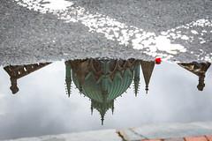 Old South Church Cupola (Lantern) (melmark44) Tags: oldsouthchurch boston cupola lantern reflection puddle copper boylstonstreet dartmouthstreet copleysquare landmark mirror water crosswalk streetcorner