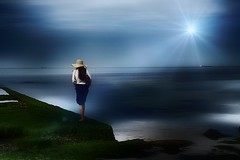 Magic ... (Julie Greg) Tags: sea light water lady colours fujifilmxt20 fujifilm england kent margate hat sky landscape