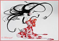 Japanese food (bruixazul poc a poc...) Tags: dibujo geisha comida food japonesa prismadecolores tinta