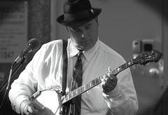 Truman's Ridge, Sycamore. 5 (EOS) (Mega-Magpie) Tags: canon eos 60d outdoors live bluegrass music musician trumans ridge sycamore public library il illinois usa america bw black white mono monochrome people person man dude fella banjo