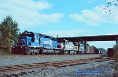 (SEE & HEAR)--CR 6445-LMX 8500-CSX 6223 w, Radebaugh, PA 10-16-1997 (jackdk) Tags: train railroad railway locomotive emd emdsd40 emdsd402 sd40 sd402 cr conrail csx csxt pittsburghmainline pittsburghsub seeandhear seehear standardcab lmx radebaugh cp cprade freighttrain freight