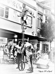 437. STREET CIRCUS: High Perch Stunts (Meili-PP Hua 2) Tags: photographypassionsxyz streetphotography city citybeat citypulse building buildings blackandwhite bw monochrome blackwhite people man women mlpphcity circus acrobats acrobat bicycle tallbicycle streetcircus streetshow performers audience lifeshow