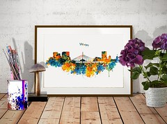 Winnipeg Watercolor Skyline (marianv2014) Tags: winnipeg canada skyline skylines silhouettes citysilhouette watercolor wallart skylineart skylinepainting skylinewall skylineposter skylinedecor aquarelle cityposter walldecor blue orange green yellow splatters splashes watercolorpainting watercolorskyline cityart citysymbols modernpainting canadiancities roomdecor artgifts affordableart illustration artwork art colorful beautiful city whitebackground decor landmark