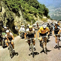 1975 TDF Bonanza in the Pyrenees (Sallanches 1964) Tags: pyrenees bonanza tourdefrance 1975 mountainstage pladadet lucienvanimpe bernardthévenet eddymerckx joopzoetemelk tourdefrancewinners