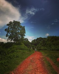 Make your mind a dusty road, I'll be a traveler. (CuriousClickZ) Tags: explorebangladesh village rural beautiful scene photography green traveller tree sky red road