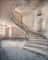 Curves (Midnight - Digital) Tags: urbex urbanexploration stairs architecture abandoned curves pastel