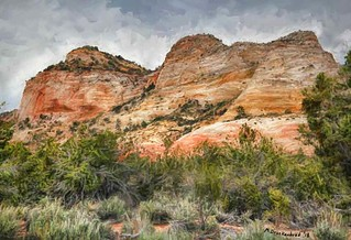 Page Sandstone White Rock Formation near Kanab UT, a digital painting