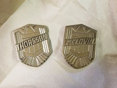 Judge Badges in Progress (thorssoli) Tags: dredd mclovin badges dredd3d prop replica cosplay