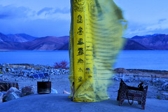 The Prayer Flag..... Pangong Tso at Blue Hour (pallab seth) Tags: bluehour dawn pangongtso lake landscape photo leh ladakh india travel tour nature himalayas mountain campsite photography indianlandscapephotography prayerflags