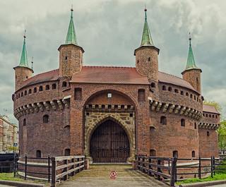 The Barbakan (15th Century) aka The Frying Pan- Krakow Old Town (Cross Process) (Olympus OMD EM1 II & M.Zuiko 12-100mm f4 Pro Zoom)