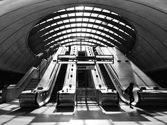 Morning monochrome at Canary Wharf (35mmMan) Tags: monochrome blackwhite escalators underground canarywharf london londonist urban architecture canary wharf
