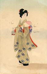 Hand-embellished Hangyoku with Insect Cage 1905 (Blue Ruin 1) Tags: uchiwa roundfan geiko geisha mushikago insectcage japanese japan meijiperiod postcard woodblockprint