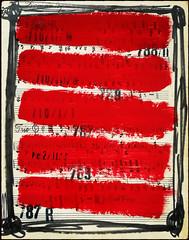 Arbeit 61 / Work 61 (Harald Reichmann) Tags: notenblatt papier übermalung arbeit61 farbe rot lied r stempel schrift linie zahl notenschlüssel erinnerung mahnung geschichte andenken hintergrund vernichtung auslöschung