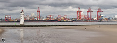 Two`s Company (alundisleyimages@gmail.com) Tags: newbrighton wirral liverpool2containerterminal shipping freight cargo cranes ports harbours goods export import lighthouse beach people panorama containers reflections seadefences tide nature merseyside rivermersey uk clouds