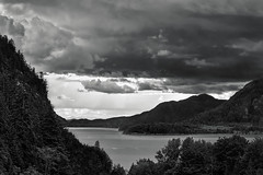 Howe Sound (martincarlisle) Tags: howesound britishcolumbia canada seatoskyhighway highway99 porteauroad fjord inlet clouds trees weather canonm6 blackandwhite monochrome captureonepro11 tkactions skancheli twop nwn