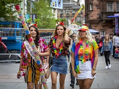 I'm Glad We Didn't Go To Hawaii (Leanne Boulton) Tags: costume people urban street candid portrait portraiture groupshot streetphotography candidstreetphotography candidportrait streetportrait streetlife eyecontact candideyecontact woman women female girl girls eyes face faces expression mood feeling atmosphere hawaii party birthday tropical bright colourful lei garland summer tone texture detail depthoffield bokeh naturallight outdoor light shade city scene human life living humanity society culture canon canon5d 5dmkiii color colour glasgow scotland uk