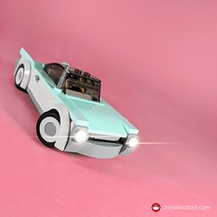 1953 Baker Chickadee (ChrisElliottArt) Tags: lego car vehicle coupe sports sportcar aqual white pink square retro vintage motorama classic whitewall showcar chrome exhaust glass canopy 50s 1954