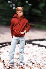 Ken Harley Davidson (ArLekin26113) Tags: ken barbie harleydavidson mattel pinklabel fashiondoll maledoll jeans hoodie hoody sneakers walk nature tree stone blonde