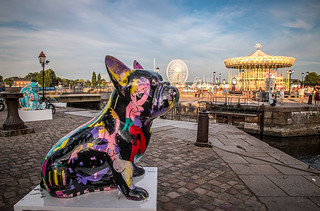 the giant French bulldog outcools the  Vieux Bassin (Od Harbour), fine art colour: La Nuit des Artistes (The Night of the Artists) Honfleur, Calvados, Normandy, France
