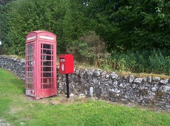 Red Telephone Box and Red Letterbox, Invershin, Sutherland, July 2018 (allanmaciver) Tags: red telephone box letterbox royal mail british telecom post call wall dyke trees invershin sutherland scotland glass allanmaciver hotel