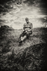 "Mr ""T"" (Missy Jussy) Tags: trevorkerr portrait man men landscape vignette mono monochrome moodylandscape moody hillside clouds sky grass fence campingtrip northumberland northeastcoast smiling canon 5d canon5dmarkll canon5d canoneos5dmarkii 50mm ef50mmf18ll ef50mm canon50mm fantastic50mm primelens fixedfocallength outdoor outside"