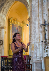 Tania de Jong performing at the Old Church, Bonniuex, France