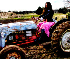 Pink Skirted Farmer (Outtake) (Special) Tags: pink woman tractor ford girl rural rust farm skirt rusted gothgirl plowing outtake pinkskirt