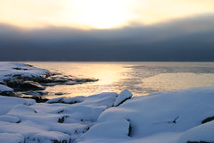 Winter sea (norrland) Tags: winter sunset sea snow nature sweden