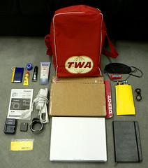moleskine lumix laptop battery case retro panasonic adapter fz5 whatsinmybag earplugs charger pencilcase sunscreen lipbalm hairclip dmcfz5 sleepmask cameramanual flightbag lensshade