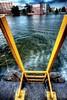 yellow ladder into bluegreen water