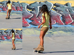Pocahontas (Professional Recreationalist) Tags: yellow grafitti skatepark skate skateboard brucedean professionalrecreationalist sk8 victoriabc moccasins skatergirl sk8ergurl